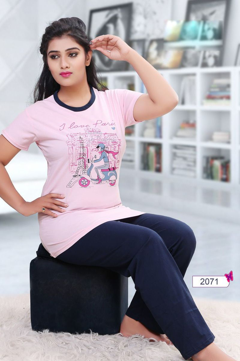 beece951d9 Whatsapp  - +91 9377709531 Baby-Pink-Simple-Cotton-Womens-Night-Wear-Tshirt -And-Pyjama-2071-12535  wholesale  bulk  wholesalesupplier  wholesaledealer  ...