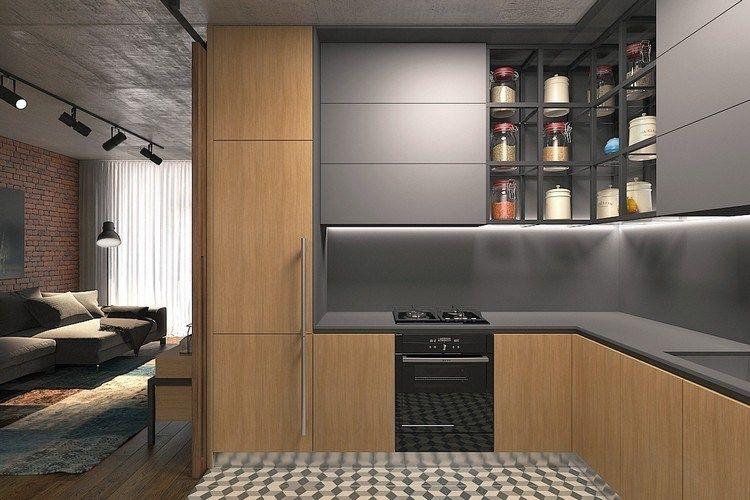 Comment Aménager Un Studio Style Moderne Design Pratique Fonctionnel Idée  Petite Cuisine Ouverte Salon