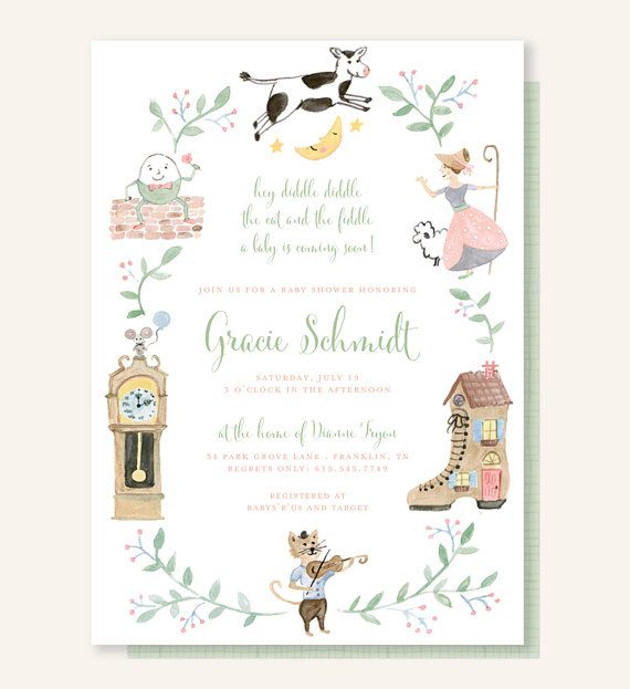 Nursery rhyme baby shower invitation cow jumped over the moon hey nursery rhyme baby shower invitation cow jumped over the moon hey diddle diddle the cat and the fiddle little bo peep humpty dumpty by leveret paperie filmwisefo