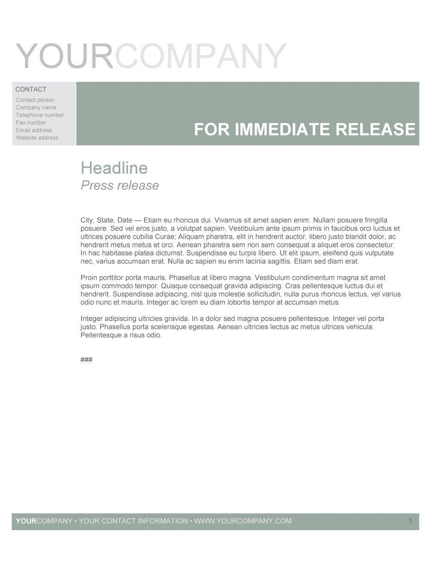 Press Release Format Press Release Format In 2020 Press