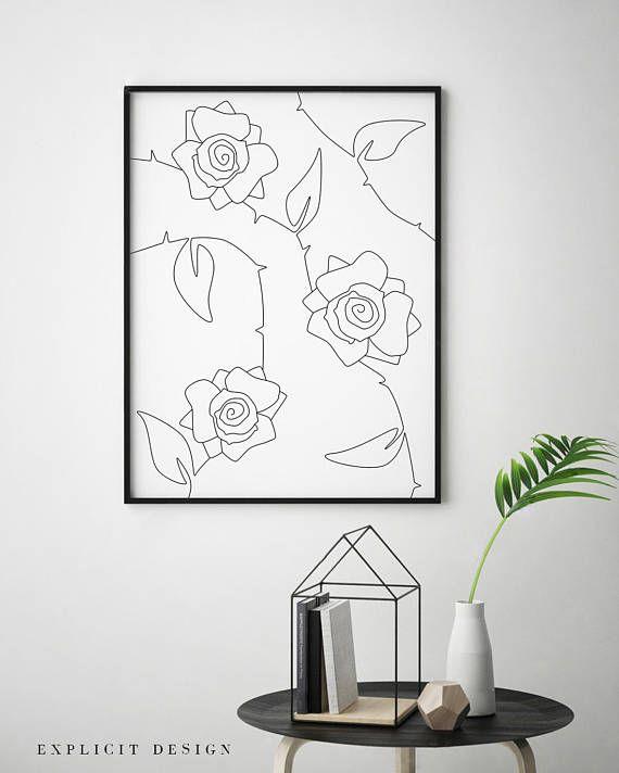 abstract rose bush printable white minimalist art thin drawing