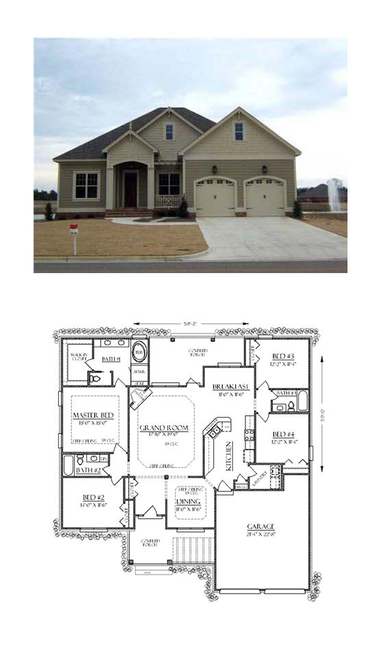 Traditional Style House Plan 74736 With 4 Bed 3 Bath 2 Car Garage Bungalow House Plans Four Bedroom House Plans New House Plans