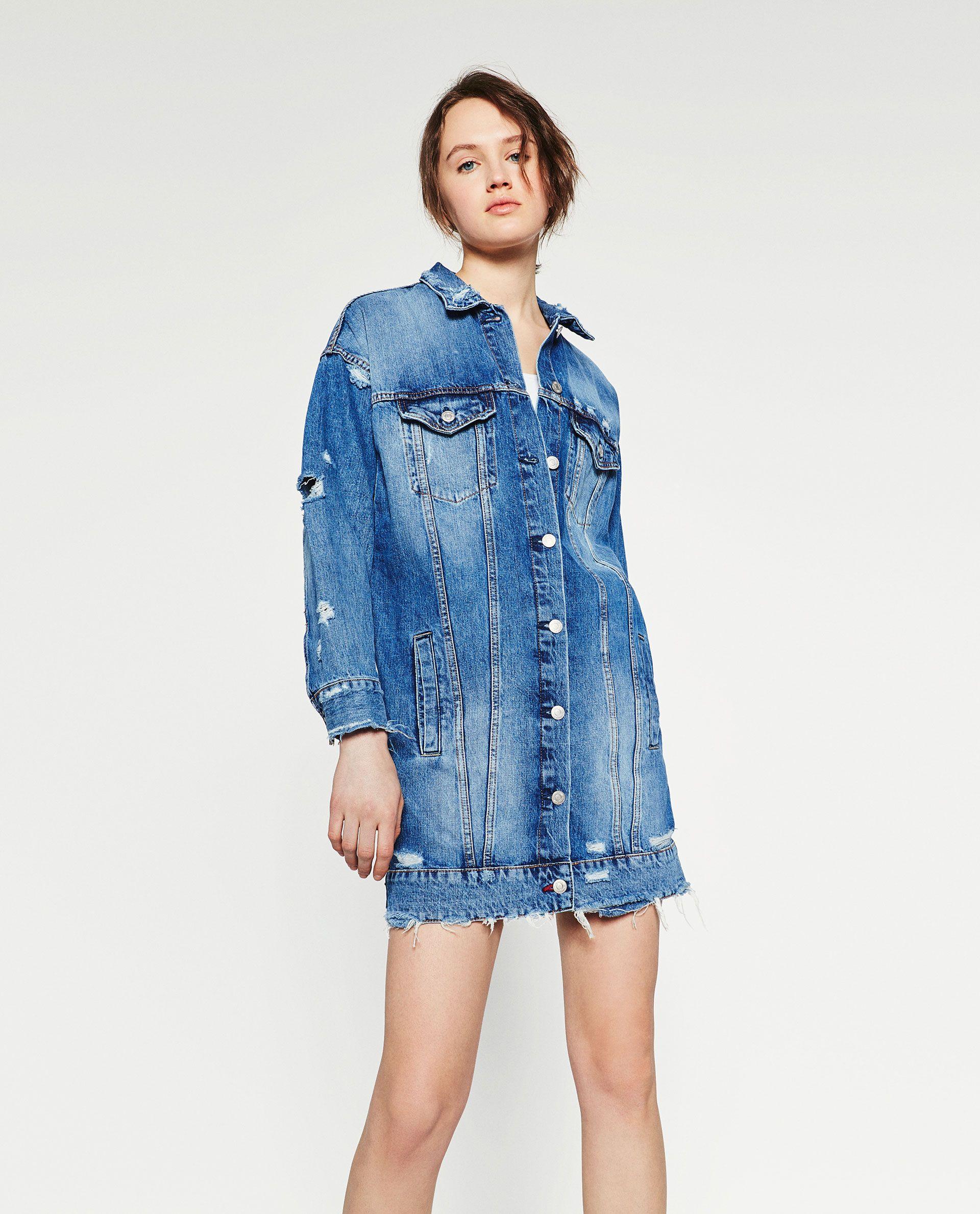 varios estilos comprar online última colección CAZADORA DENIM LARGA   costura   Abrigos, Abrigos mujer y ...