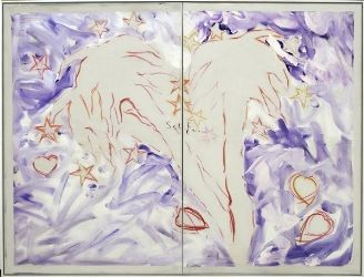 Pananti Casa d'Aste - Oasi - MARIO SCHIFANO (Homs, 1934 - Roma, 1998), Smalto su tela, cm. 180x240 (dittico)