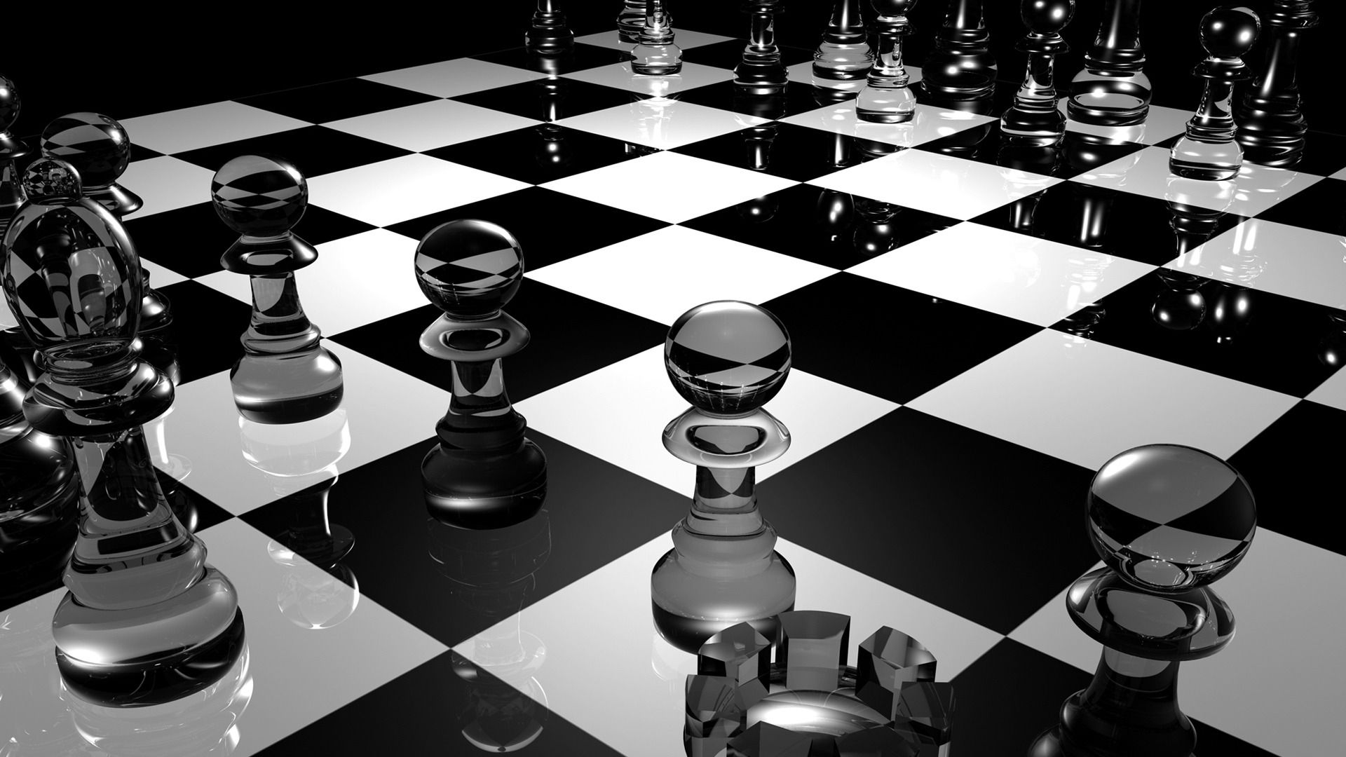 3D Chess Board Black and white wallpaper, Chess board