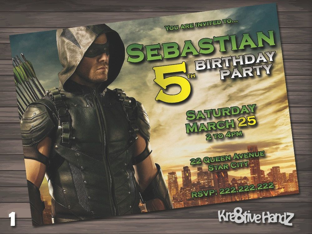 The Green Arrow Birthday Party Invitation customized printable ...