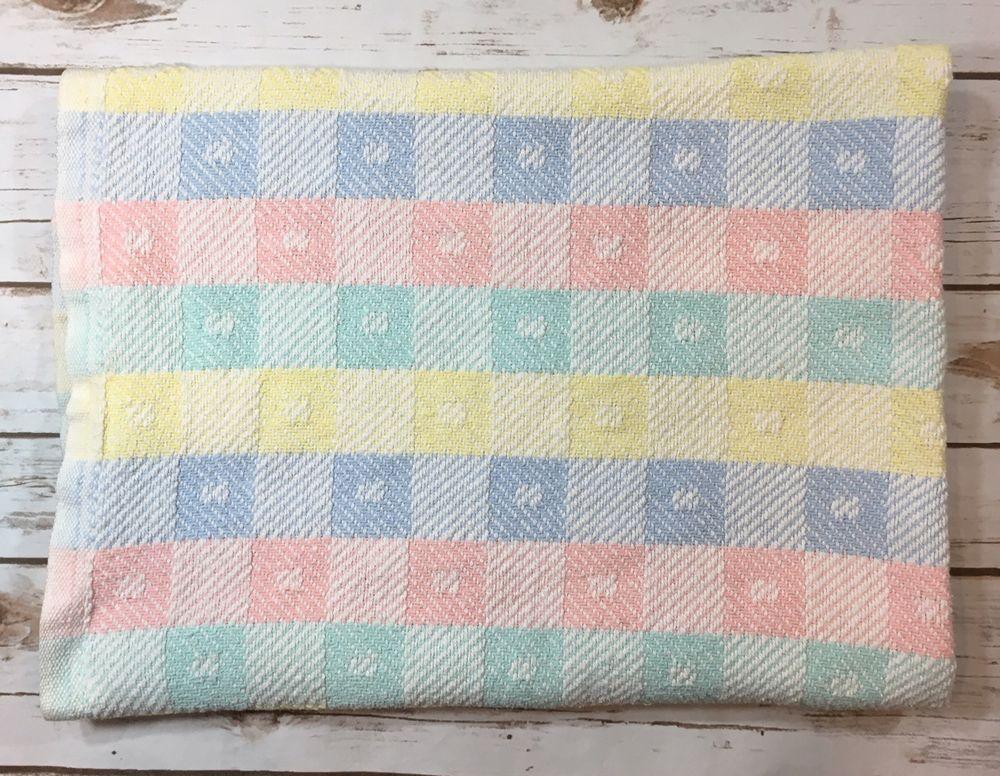Vintage Beacon Baby Blanket Pastel Woven Squares Blocks 100 Cotton Wpl 1675 Ebay Vintage Baby Blanket Blanket Baby Blanket