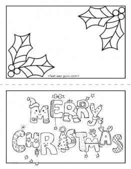 free online card print out merry christmas card coloring page for preschool