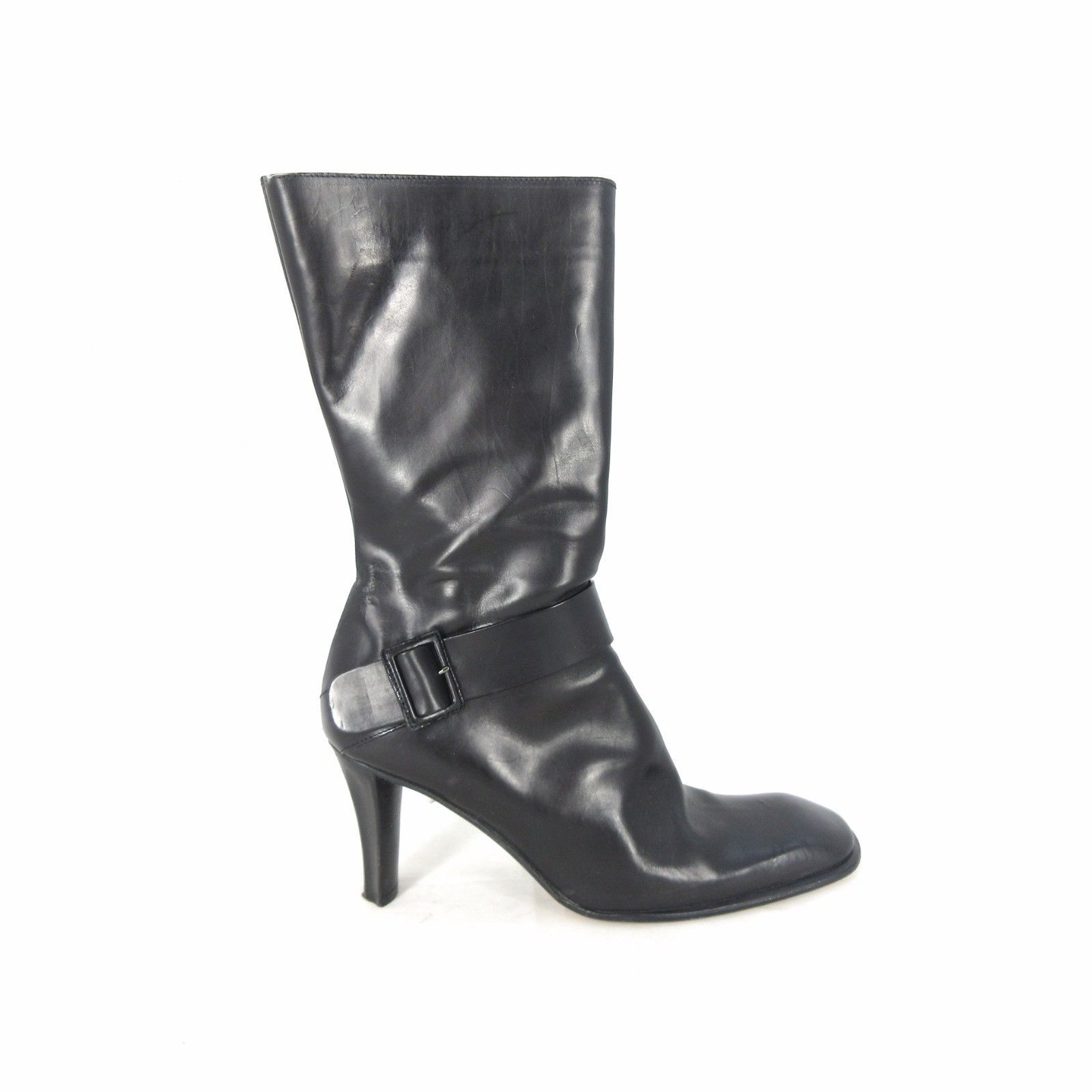5182a9c83a908 39.5 / 9 US - COSTUME NATIONAL Black Leather Heeled Mid Calf Boots ...