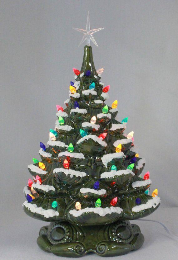 Ceramic Christmas Tree With Snow.18 Christmas Tree W Snow Plain Base By Artsonfireplano On
