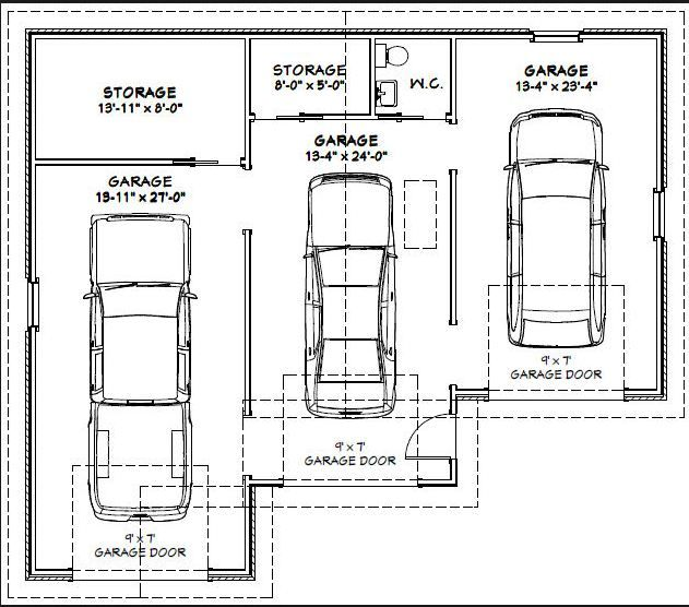 This Is A Must Have 3 Car Garage With Plenty Of Room Minus The Sink I D Take That Out And Keep The 2nd Storage Garage Dimensions Tandem Garage Garage Plans