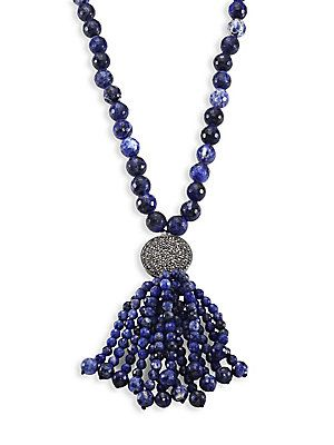 Nest Beaded Wood & Sodalite Tassel Necklace lDEk4Cep