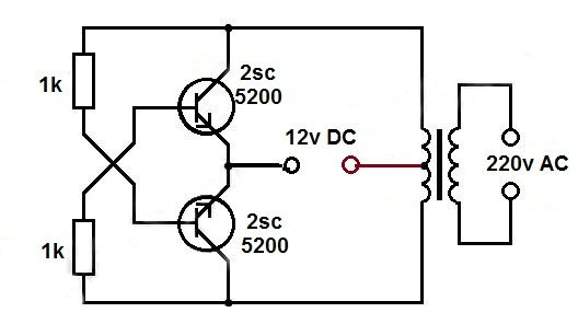 dc to ac power converter- This circuit is about dc to ac