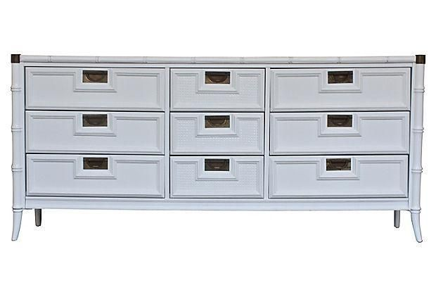 Stanley White Faux Bamboo Dresser On Chairish