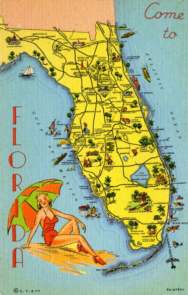 Map Of Florida Pointing Out Various Tourist Attractions Postcard
