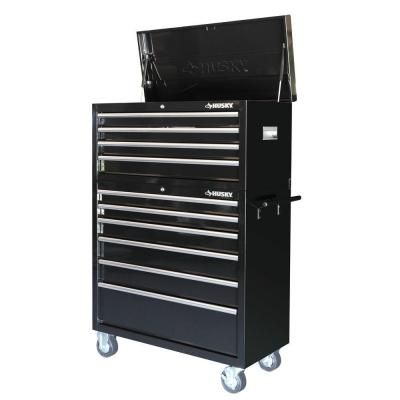40 In 10 Drawer Tool Chest And Cabinet Set In Black 298 00 Tool Chest The Home Depot Tool Box