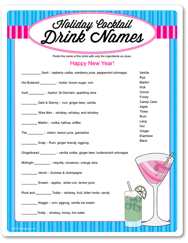 Beautiful Cocktail Party Name Ideas Part - 5: Printable Holiday Cocktail Drink Names - Funsational.com