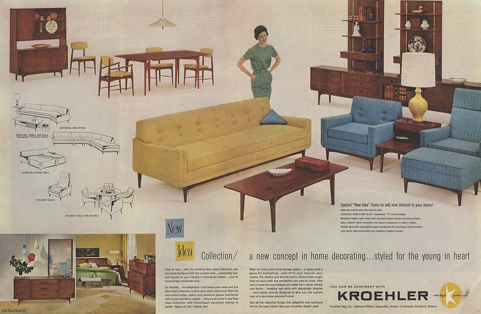 Vintage Print Ad Kroehler Furniture New Idea Collection