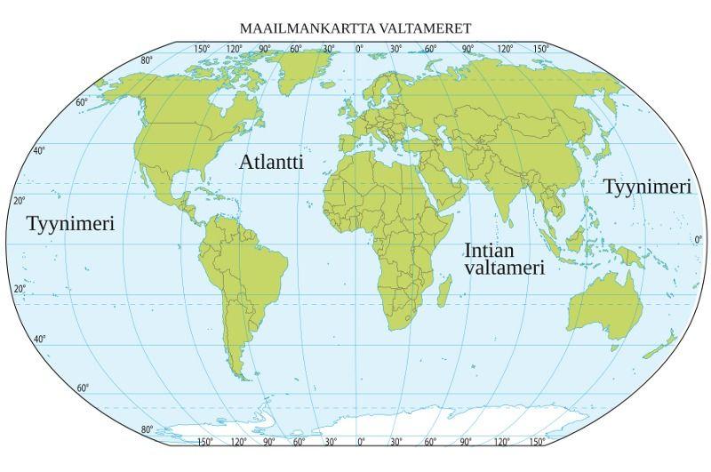 Valtameret Kartta Maantiede Valtameri