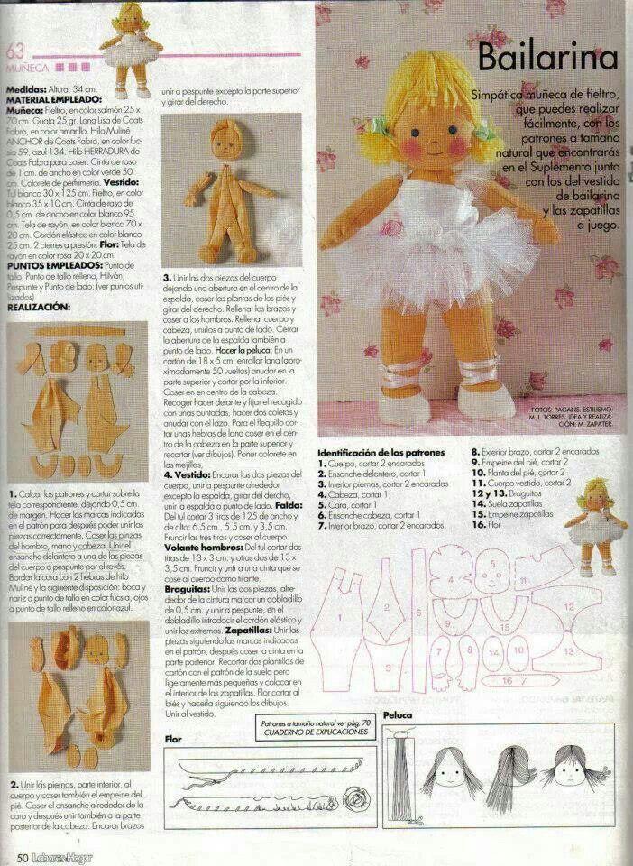 Bailarina de fieltro | Munecas en tela | Pinterest | Muñecas de ...