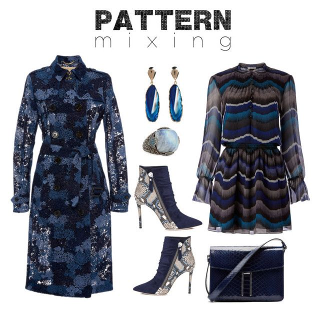 """PatternInBlue"" by lynne-farrell ❤ liked on Polyvore featuring Diane Von Furstenberg, Burberry, Stephen Dweck, Valerie Nahmani Designs, Hayward and patternmixing"