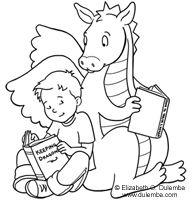 Kirjanmerkeiksi soveltuvia hauskoja lukukuvia. Jokainen oppilas voi valita haluamansa kuvan, värittää sen ja liimata pahville. Vielä pitkän langan nenässä roikkuva tupsu kiinni kirjanmerkkiin ja sitten vain lukemaan.
