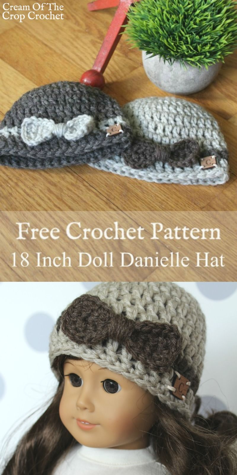 18 Inch Doll Danielle Hat Crochet Pattern | Cream Of The Crop Crochet #dollhats