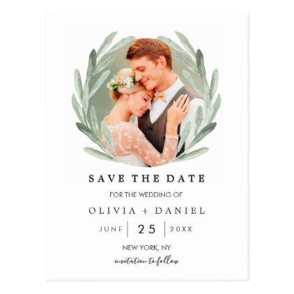 Olive Branch Wreath Classy Wedding Save the Date Postcard - photo gifts cyo photos personalize