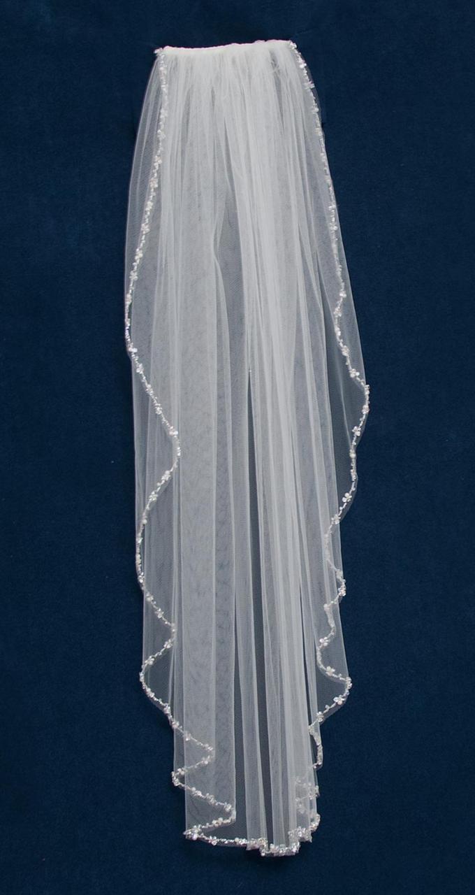Sparkling Pearl and Rhinestone Beaded Elbow Length Wedding Veil C455 - Affordable Elegance Bridal -