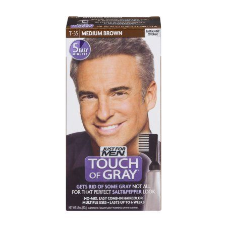 Just For Men Touch Of Gray Easy Comb-In Haircolor T-35 Medium Brown ...