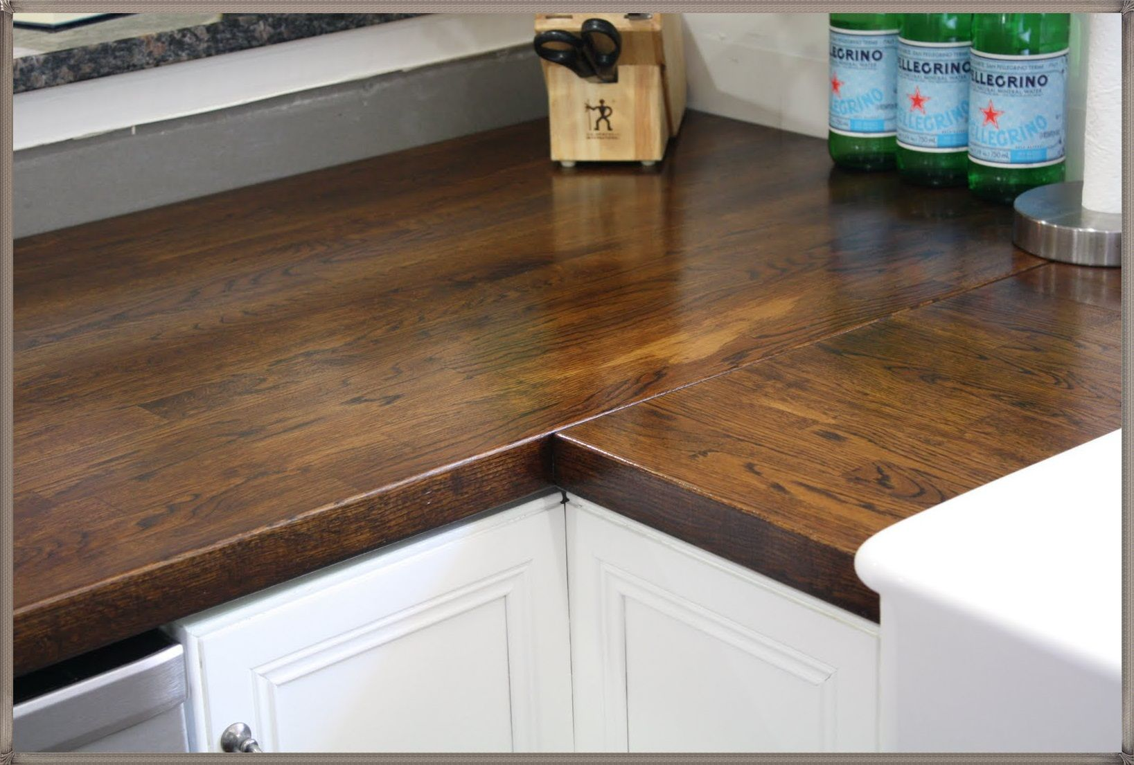 Corner Cabinet Butcher Block Countertop White Cabinets How To