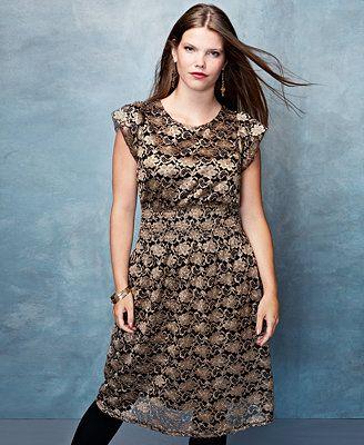 American Rag Plus Size Cap Sleeve Metallic Lace Dress Looks I Like