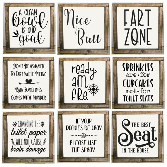 Bathroom Signs, Bathroom Humor, Framed Bathroom Sign, Fart Zone, Nice Butt, Best Seat In The House, Change Toilet Paper, Custom Bath Sign