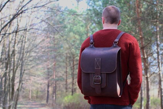 Leather backpack for men and women. Brown color handmade. $250.00 USD For more information click here - https://www.etsy.com/listing/214915720/manwomen-leather-backpack