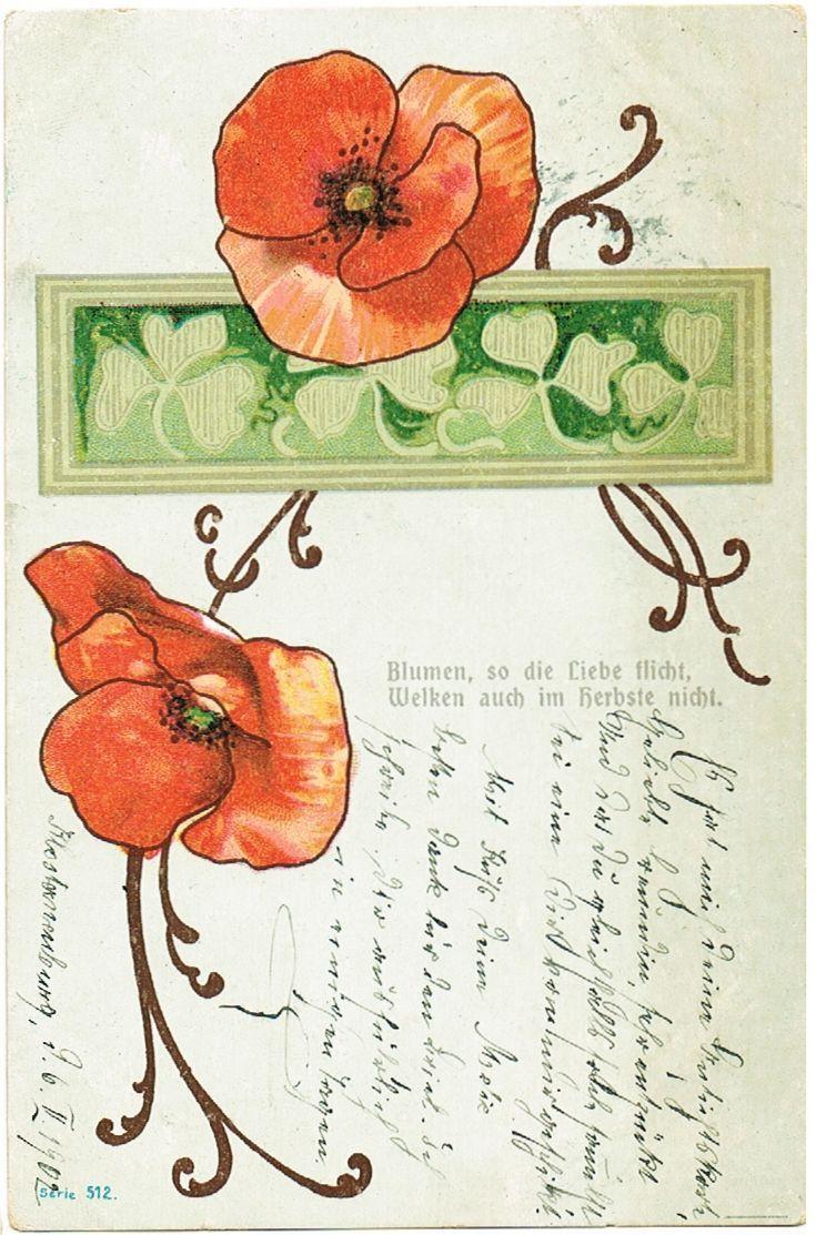 Art Nouveau Inspired California Poppy By Mason Larose: Art Nouveau Postcard With Poppies, 1902
