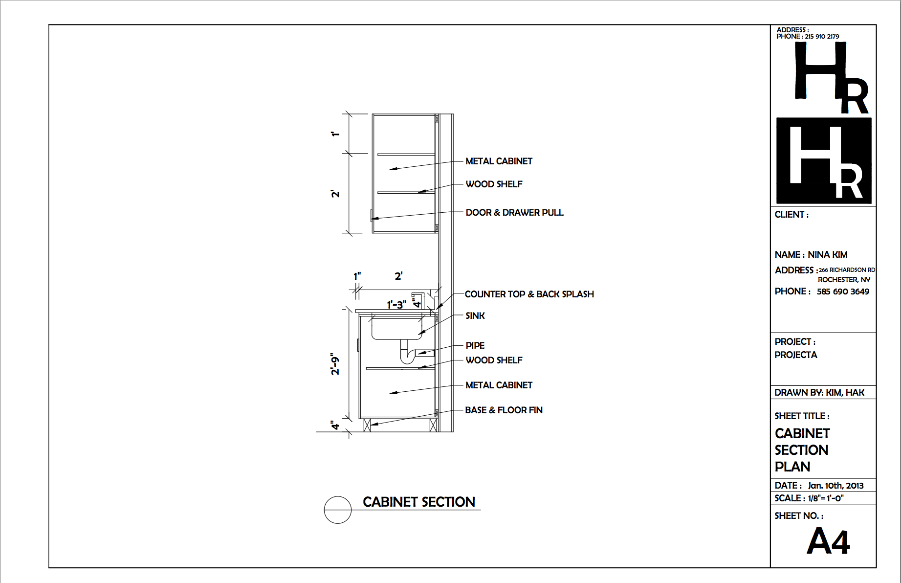 Bathroom section drawing - Cabinet Section Drawing