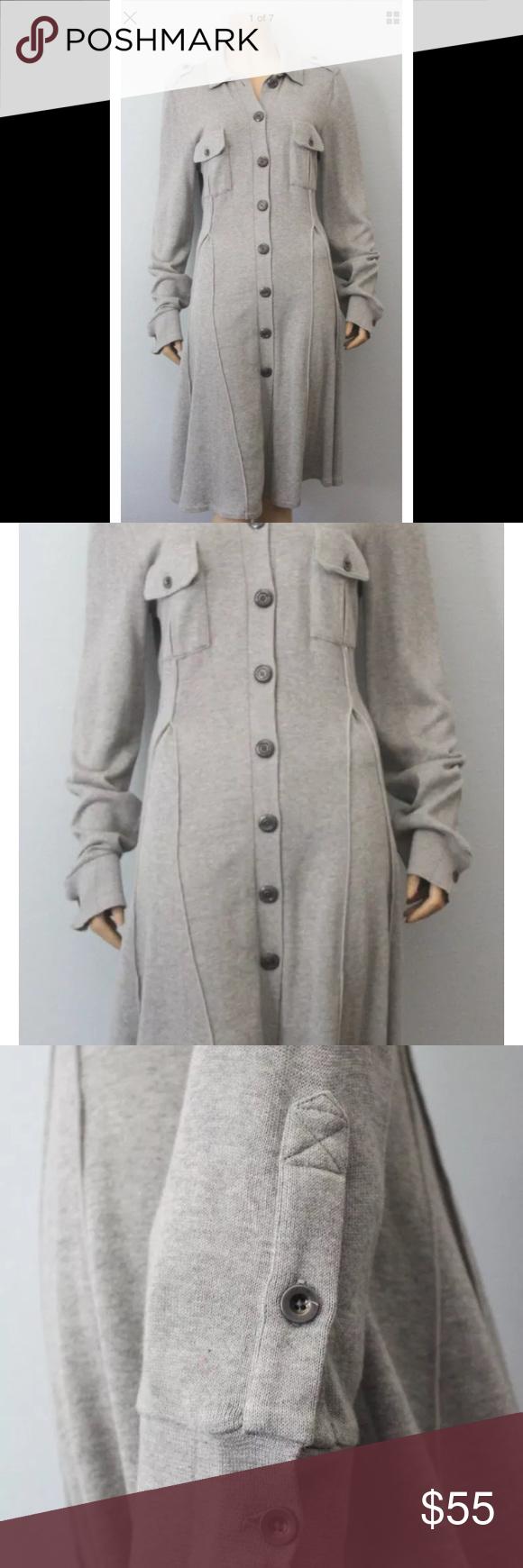 Free People Gray Button Down Sweater Dress Xs My Posh Picks