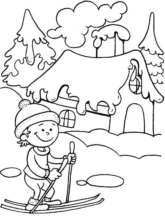 Printable Winter Colouring Pages : Winter is the time to take a ski ride coloring page animals