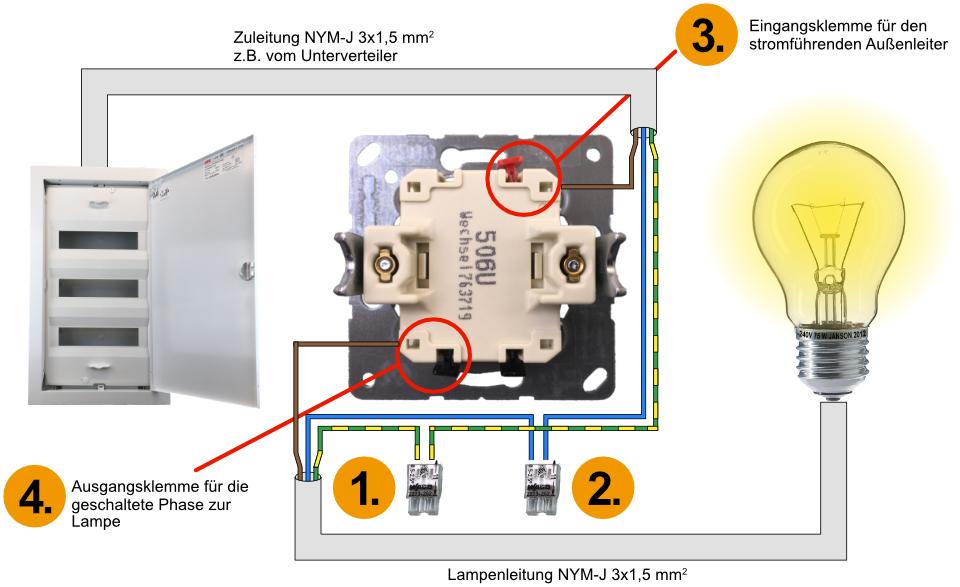 Elektroinstallation Wechselschalter Lichtschalter Ausschalter Richtig Anschliessen Ausschaltung Elektroinstallation Lichtschalter Elektroinstallation Haus
