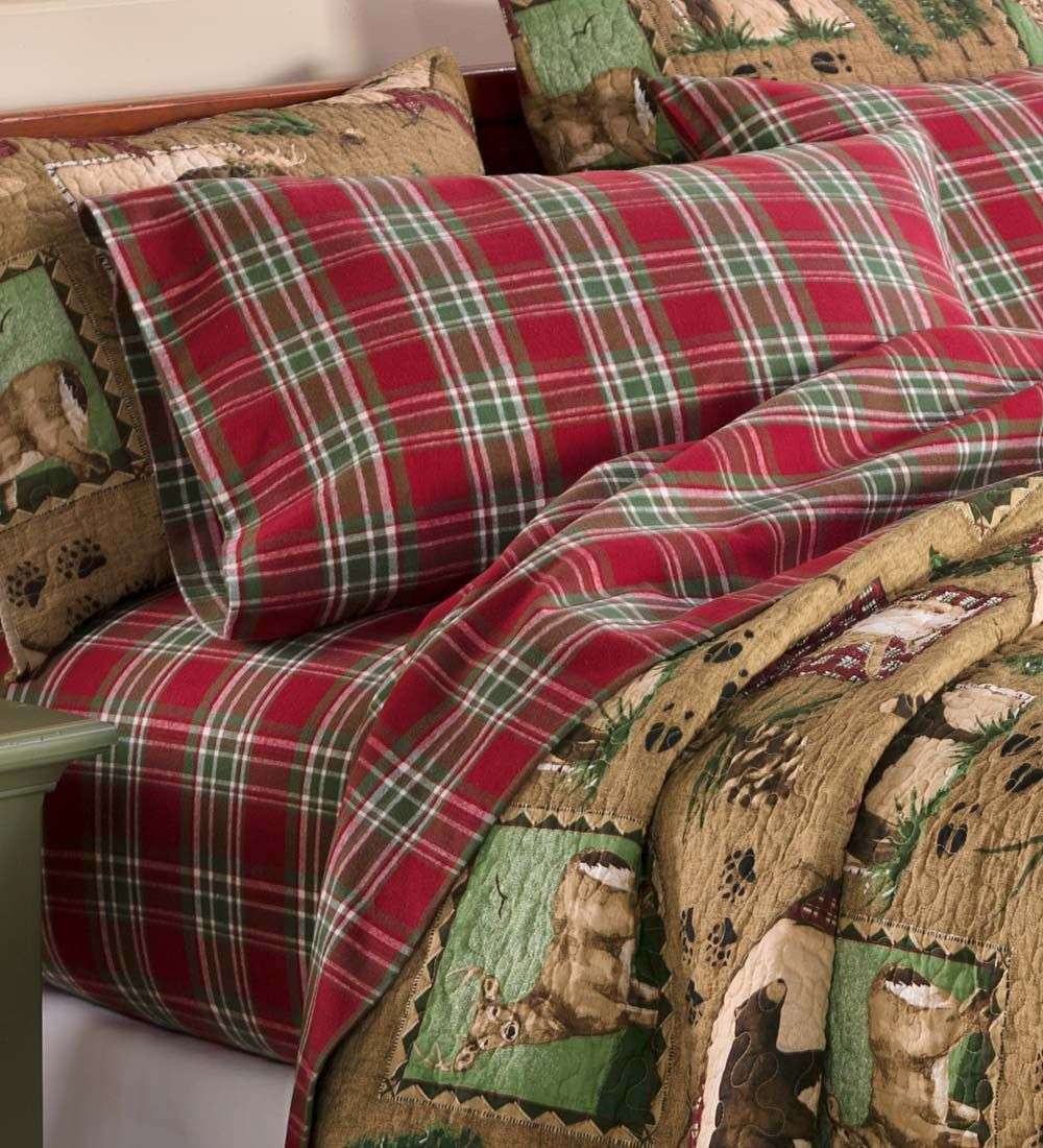 King Lodge Plaid Flannel Sheet Set Collection Accessories Plaid Bedding Rustic Sheets King Sheet Sets