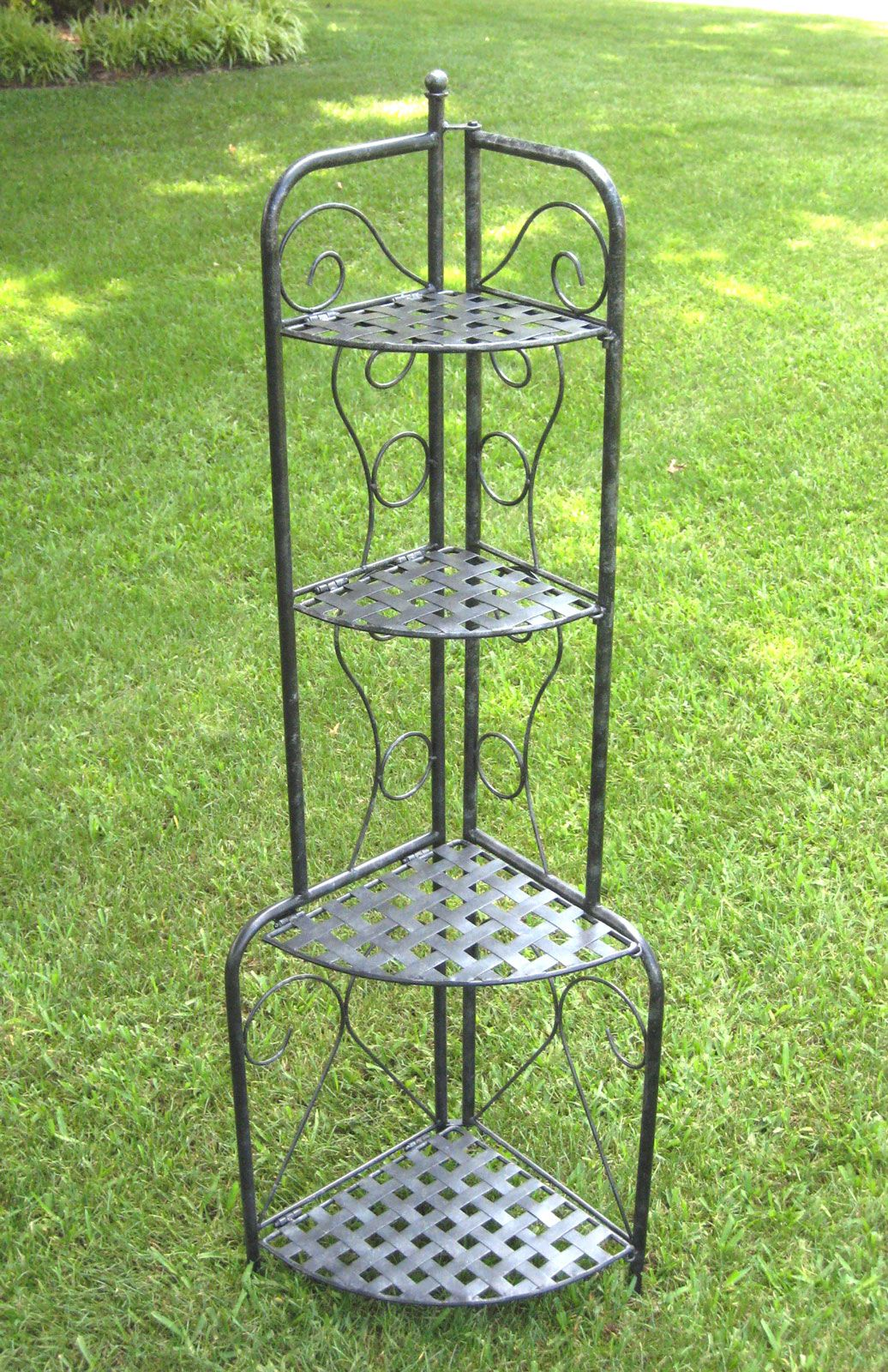 Corner Folding Bakers Rack Wrought Iron In Bakers Racks With