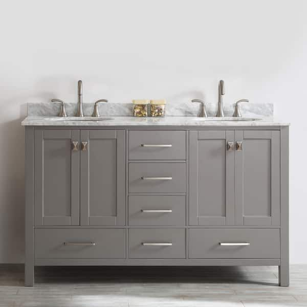 Gela 60-inch Grey Double Vanity with Carrara White Marble Top Home
