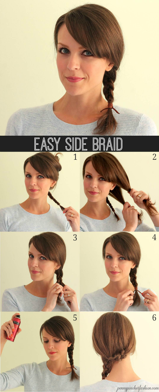 Penny Pincher Fashion:  1) Separate hair into two sections, pin one side up & braid the lower section, working it around the back of your neck to the other side. Secure with a clear elastic. 2) Take the top section of hair down & separate into two equal parts. 3) Begin to braid with the 2 hair sections and the smaller braid.   Slide the clear elastic out of the smaller braid when you reach the end. 4) Secure.