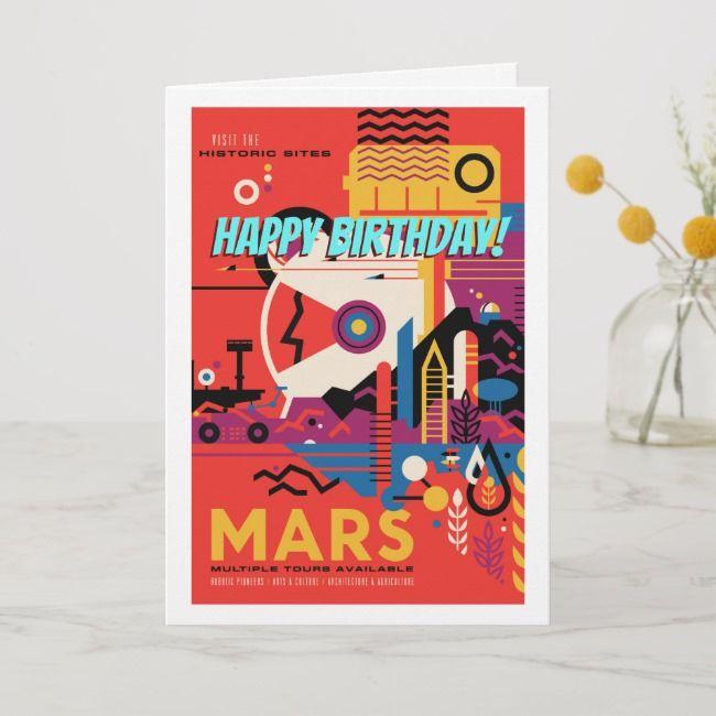 Happy Birthday Retro Mars Historic Site Tour Card Zazzle Com Happy Birthday Astronaut Birthday Historical Sites