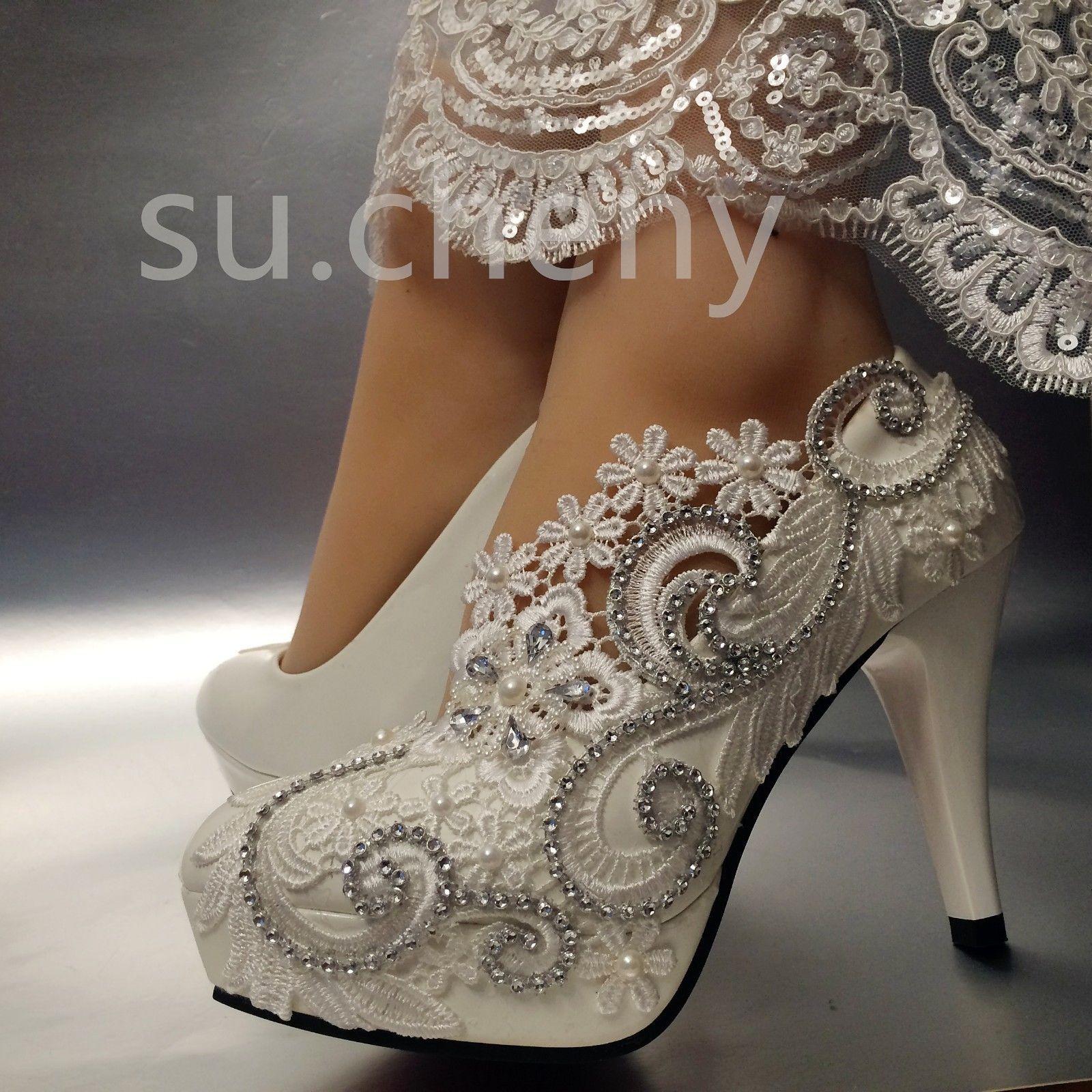 3 4 White Light Ivory Lace Crystal Wedding Shoes Bridal Heels