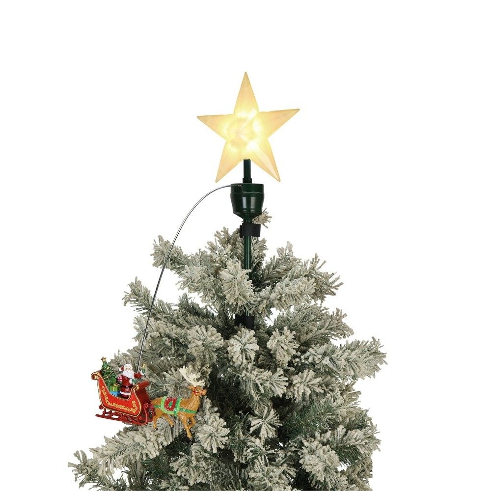Santa S Sleigh Animated Tree Topper Mr Christmas Red Christmas Tree Christmas Tree Toppers Tree Toppers