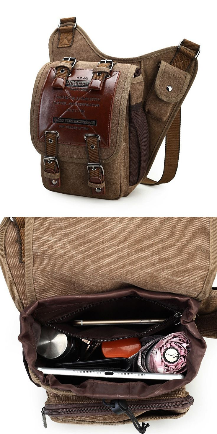 9732ecc90 Men's #Vintage #Canvas #Shoulder #Bags #Military #Leather #Patchwork # Messenger #Bag