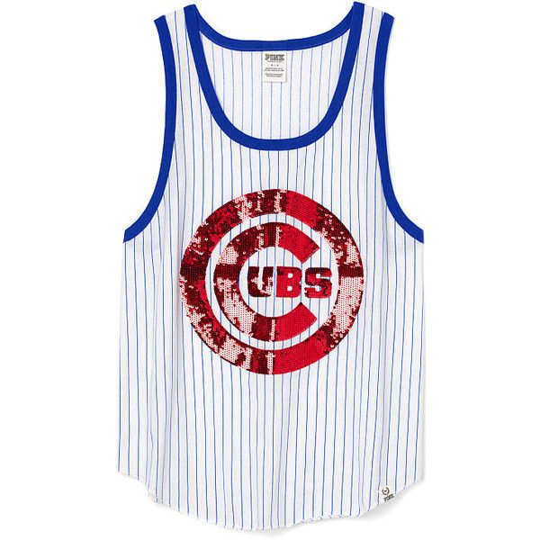 09cc2d7e239 Victoria s Secret PINK Chicago Cubs Bling Tank (49 AUD) ❤ liked on Polyvore  featuring tops