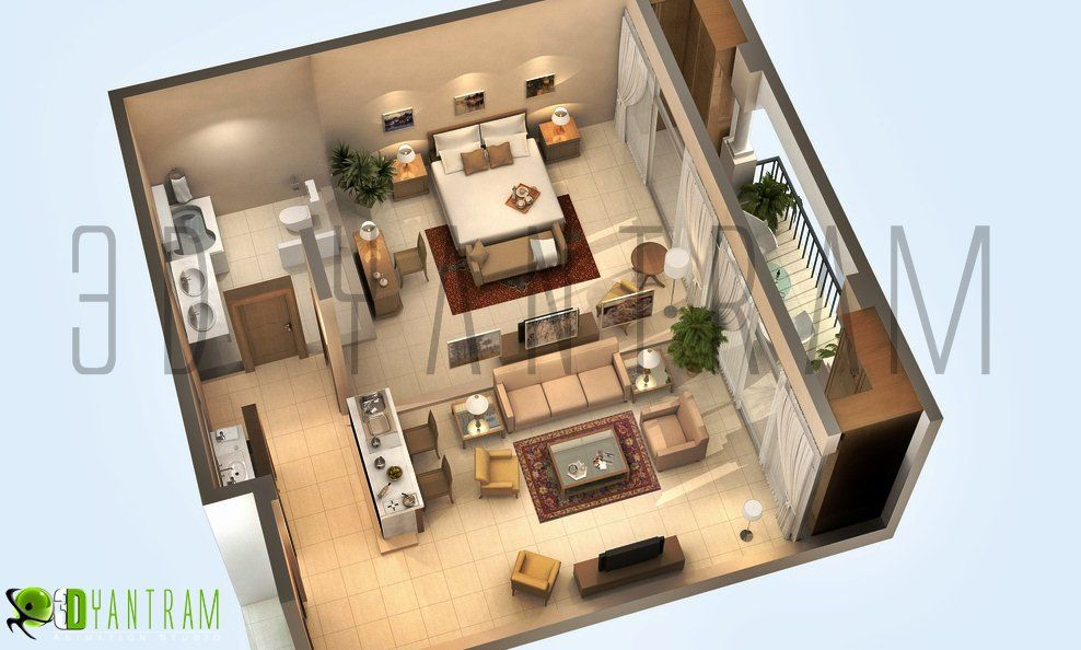 Large Studio Apt Plan From 3d Website Could Easily Be Converted