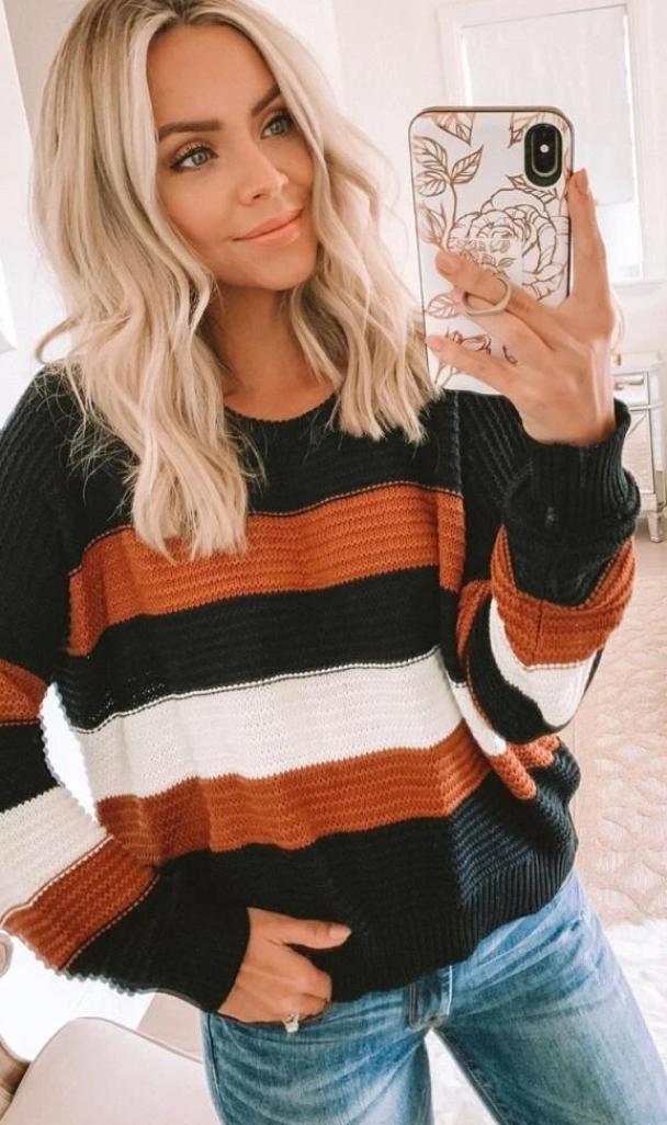 Orange Color Block Stripe Buttoned Sweater